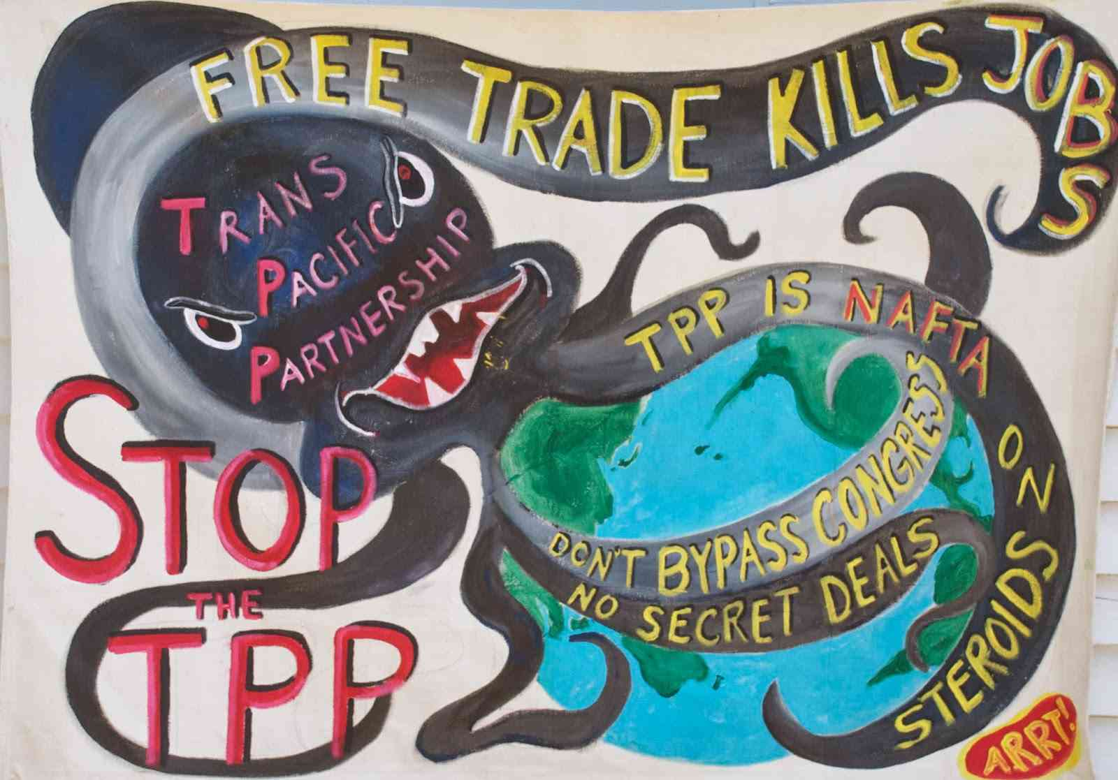 Banner made by the Maine Artists Rapid Response Team (ARRT)