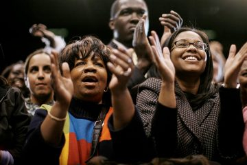 Black voters celebrating