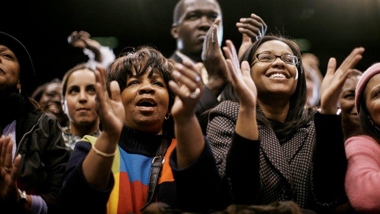 Black voters celebrating