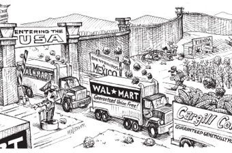 cartoon showing major companies like walmart sourcing their goods from mexico