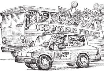 cartoon showing the oregon bus company racing a union cab