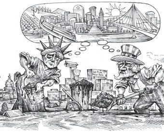 cartoon showing the statue of liberty and uncle sam dreaming of a clean stable new york