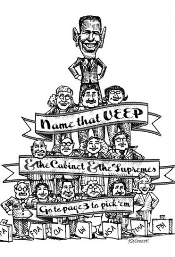 cartoon showing a name that veep game