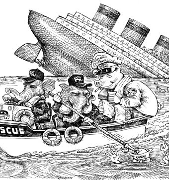 cartoon showing democrats hogging lifeboats as other passengers drown