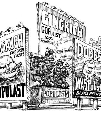 Cartoon showing limbaugh, gingrich and dobbs with different brands of populism