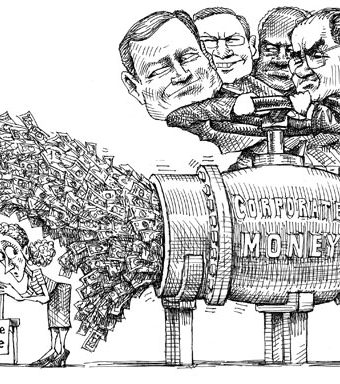 cartoon showing corporate money flooding voting ballots