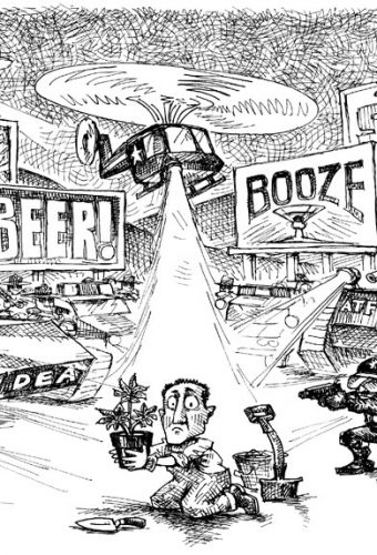 Cartoon depicting man being incriminated for having some sort of drug plant