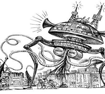 Cartoon showing Bunk and Shears piloting a giant alien ship