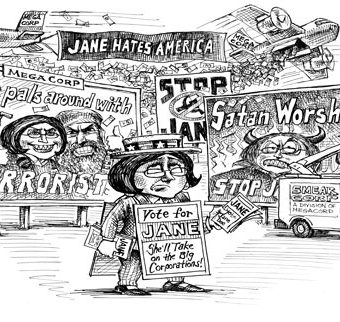 Cartoon showing Jane being prosecuted for trying to take on the big corporations