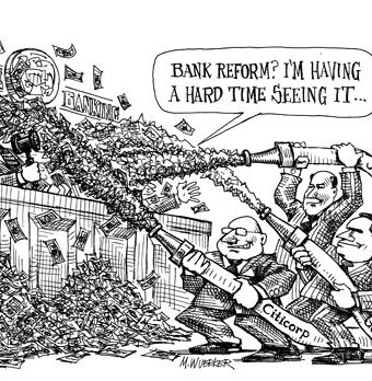 Cartoon showing banks flooding the senate banking with money to blind them