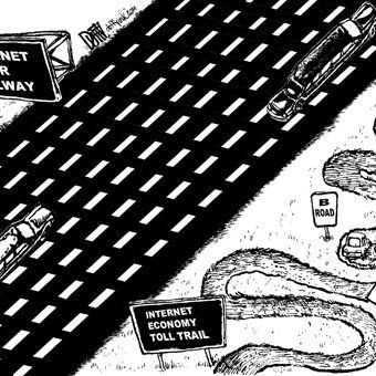Cartoon showing a massive open internet super tollway compared to a confusing internet economy toll trail