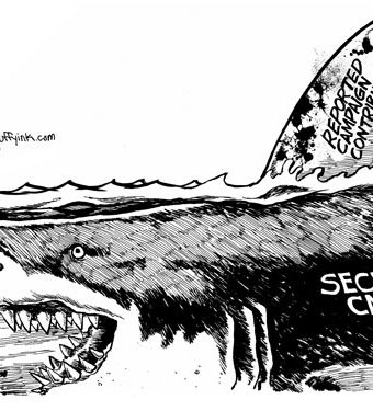"Cartoon showing a giant shark representing ""secret cash"" hunting democracy"