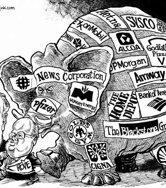 Cartoon showing Koch driving an elephant representing many corporations/companies