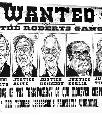 "Cartoon showing a wanted poster with the ""Roberts Gang"" on it"