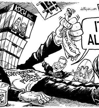 """Cartoon showing Roberts Court bringing to life a frankenstein-esque monster representing """"corporations are people too"""""""