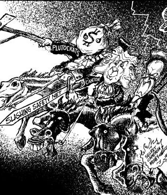 Cartoon showing the plutocrats and cantor as members of the four horsemen of the apocalypse