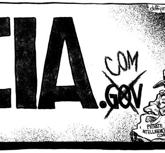 Cartoon showing the former CIA.gov being changed to CIA.com