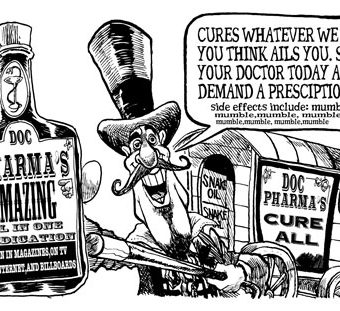Cartoon showing a seeming cure-all medicine being advertised by big pharma