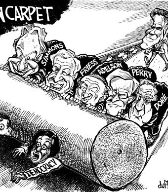 "Cartoon showing democracy being crushed by a ""green carpet"" made of money"