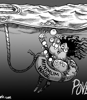 Cartoon showing the minimum wage as an ineffective floatie in an ocean of poverty