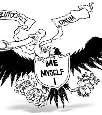 cartoon depicting the plutocracy as a giant vulture holding the nations wealth and workers