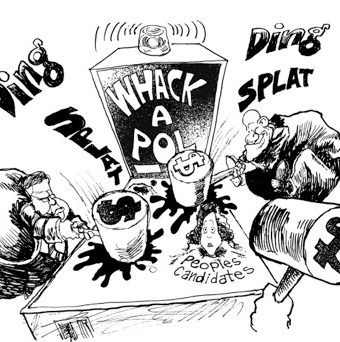 "cartoon showing higher-ups playing ""whack-a-pol"" with people's candidates-"