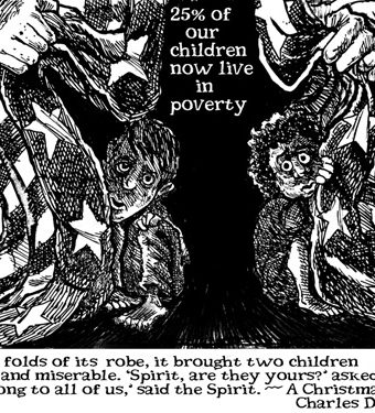 Cartoon showing how 25% of children live in poverty