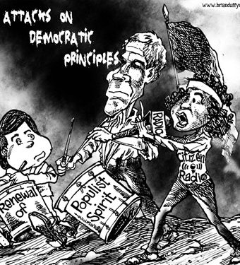 Cartoon depicting how social media and radio are attacks on democratic principles