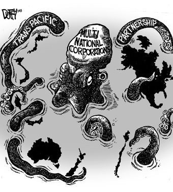 Cartoon depicting a multinational corporation as a giant octopus dominating the globe