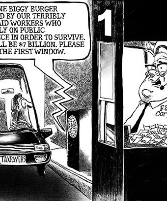 Cartoon depicting fast food corporations dealign out drive through orders with expensive food prepared by underpaid workers