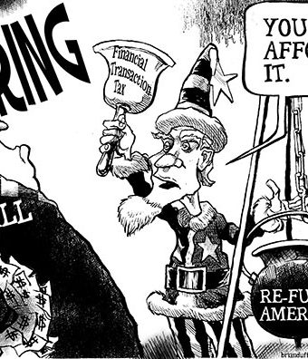 Cartoon showing Uncle Sam declaring that Wall St can afford the financial transaction tax