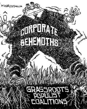 Cartoon showing corporate behemoths being tripped by grassroots populist coalitions