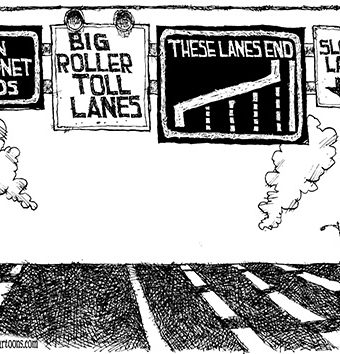 "Cartoon depicting a highway with different lanes for ""open internet ends"" and ""big roller toll lanes"", however eventually these lanes end and only the slow lane is available"