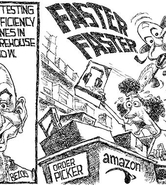 Cartoon of a domineering amazon.com drone frantically overworking an order picking employee