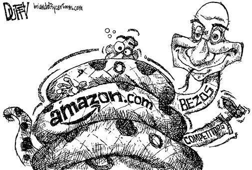 Cartoon depicting Jeff Bezos + Amazon.com as one large snake constricting competitors