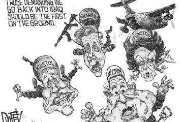 Political cartoon criticizing politicians for sending soldiers into Iraq