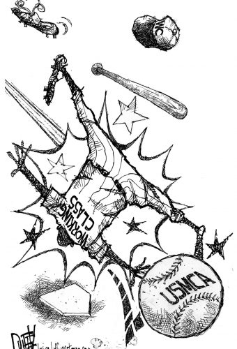 "A cartoon of a baseball player wearing a jersey that reads ""Working Class"" getting knocked over by a baseball that says USMCA"
