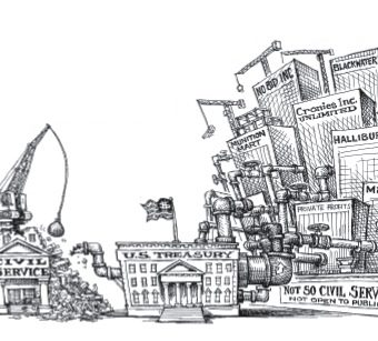 cartoon showing the treasury using non civil services