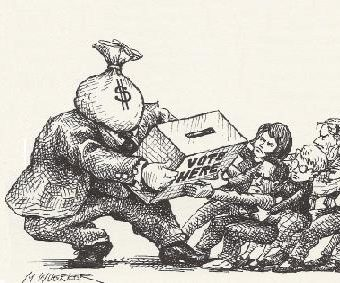 Cartoon showing people fighting over the ballot box with the power of money