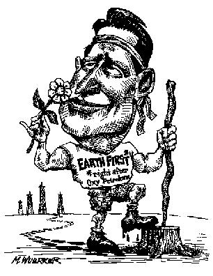 Cartoon showing Gore loving the earth