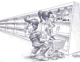 Cartoon showing shoppers forced to buy bore or gush