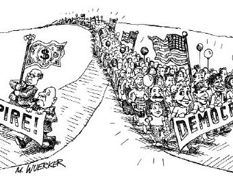 Cartoon showing people choosing democracy over empire