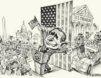 Cartoon showing the treasury being looted while bush distracts everyone