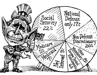 cartoon showing bush presenting his budget