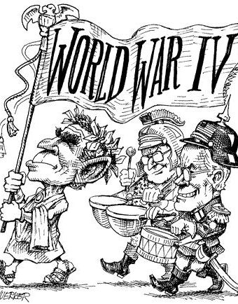 "Cartoon showing bush/cheney parading a banner saying ""world war IV"""