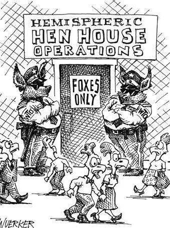"Cartoon showing ""hemispheric hen house operations"""