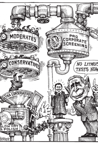 Cartoon showing conservatives making it through corporate screening