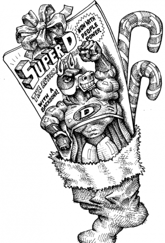 Cartoon showing the democrat donkey as a superhero action figure