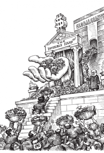 Cartoon showing a giant corporation's invisible hand giving out handouts