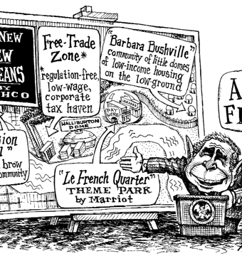 Cartoon satirizing bush's new new orleans
